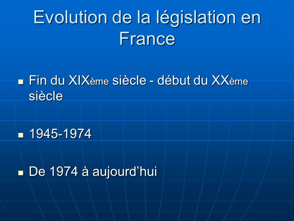 Evolution de la législation en France