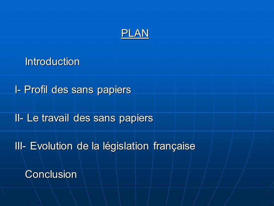 PLAN Introduction. I- Profil des sans papiers. II- Le travail des sans papiers. III- Evolution de la législation française.