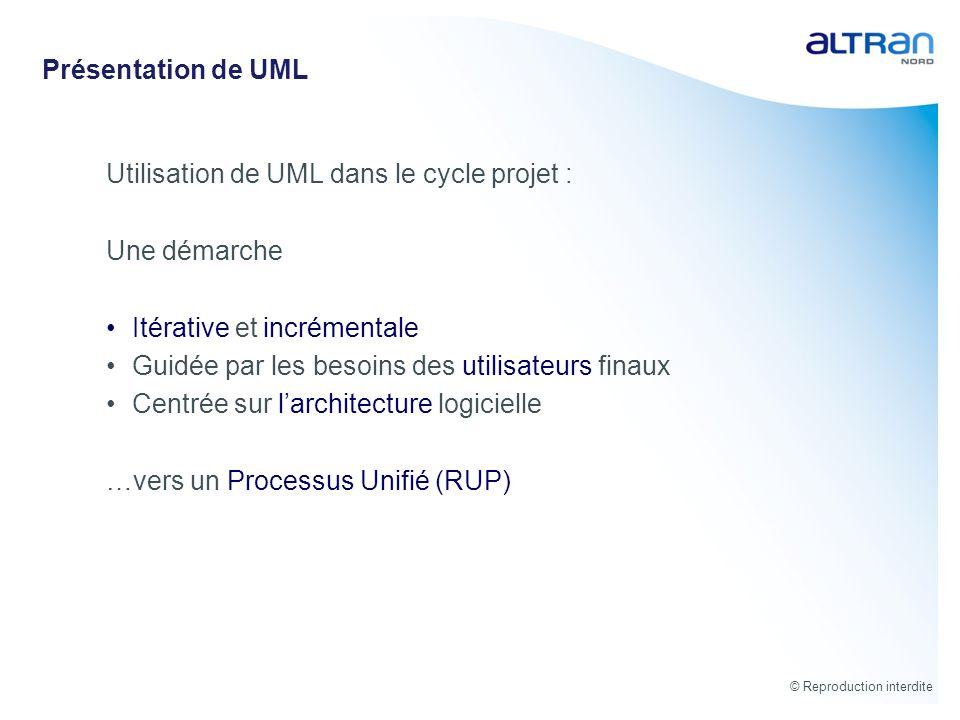 Présentation de UML Utilisation de UML dans le cycle projet : Une démarche. Itérative et incrémentale.