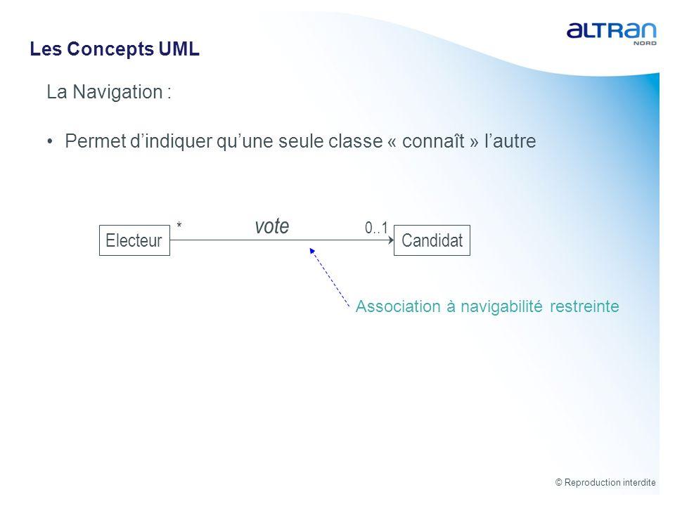 vote Les Concepts UML La Navigation :