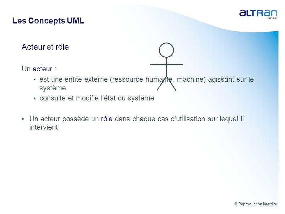 Les Concepts UML Acteur et rôle Un acteur :