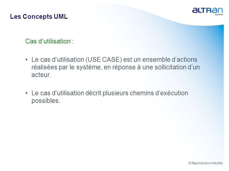 Les Concepts UML Cas d'utilisation :
