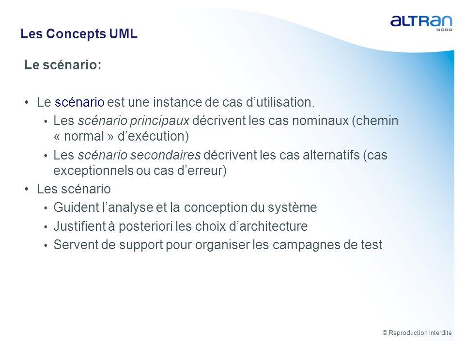 Les Concepts UML Le scénario: Le scénario est une instance de cas d'utilisation.
