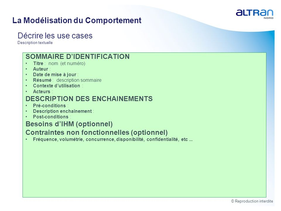 Décrire les use cases Description textuelle