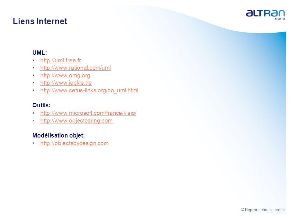 Liens Internet UML: http://uml.free.fr http://www.rational.com/uml