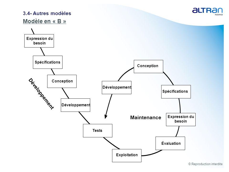 Modèle en « B » 3.4- Autres modèles Développement Maintenance