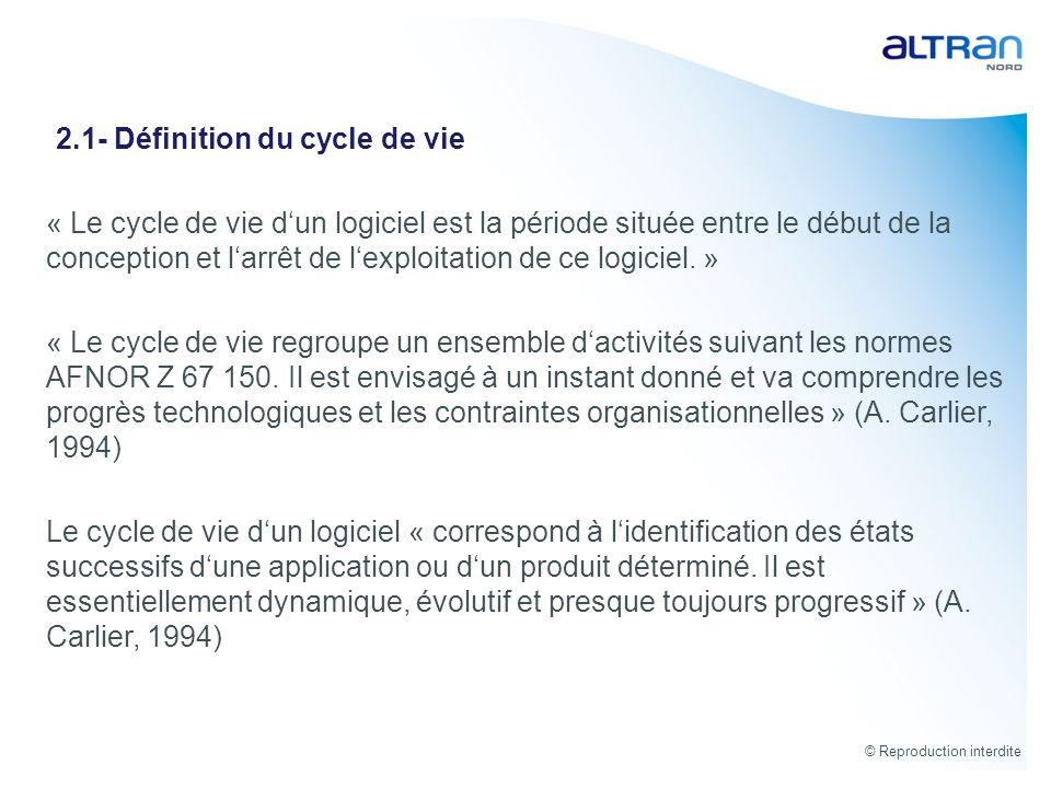 2.1- Définition du cycle de vie