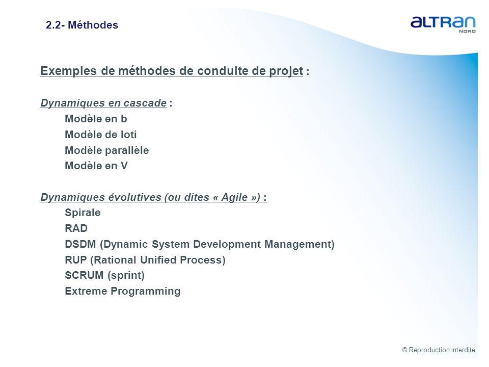 Exemples de méthodes de conduite de projet :