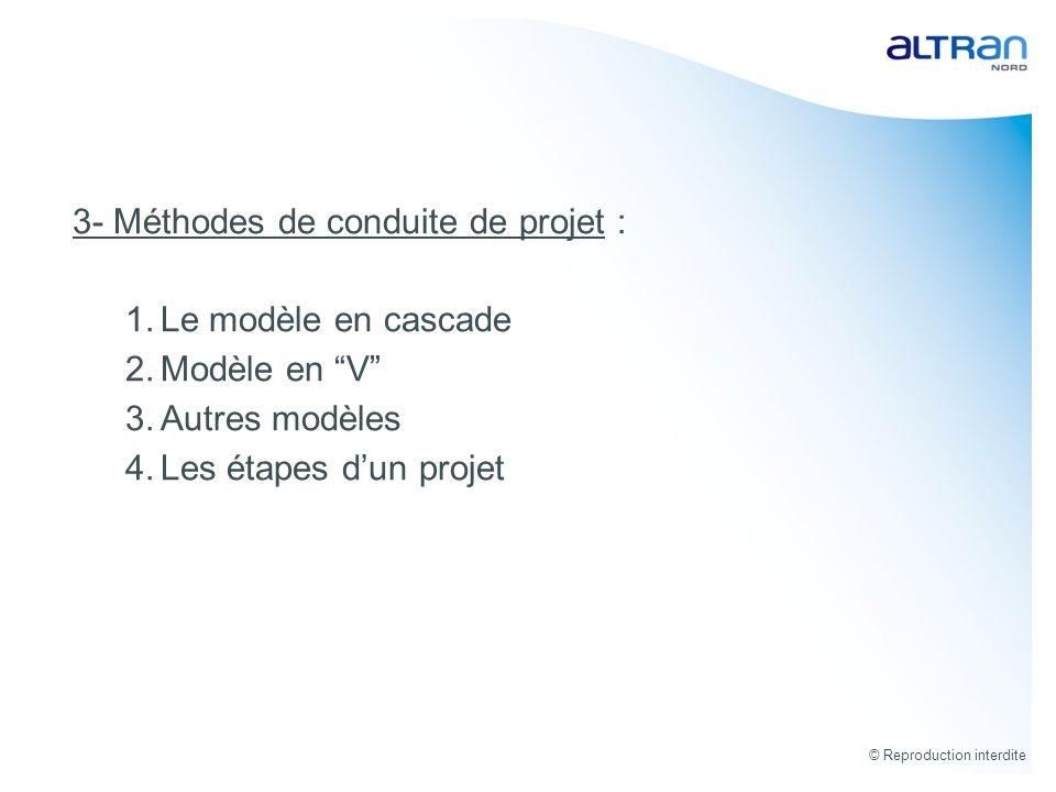 3- Méthodes de conduite de projet : Le modèle en cascade Modèle en V