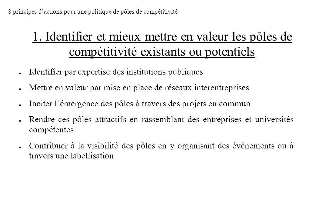8 principes d'actions pour une politique de pôles de compétitivité
