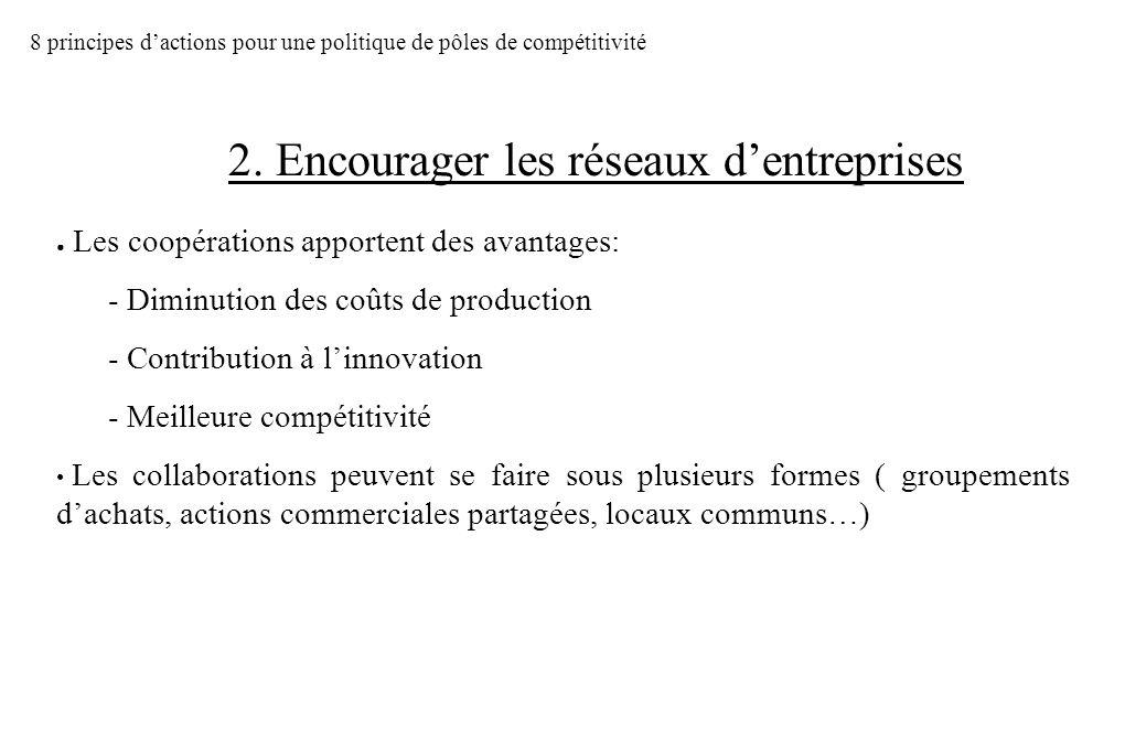 2. Encourager les réseaux d'entreprises