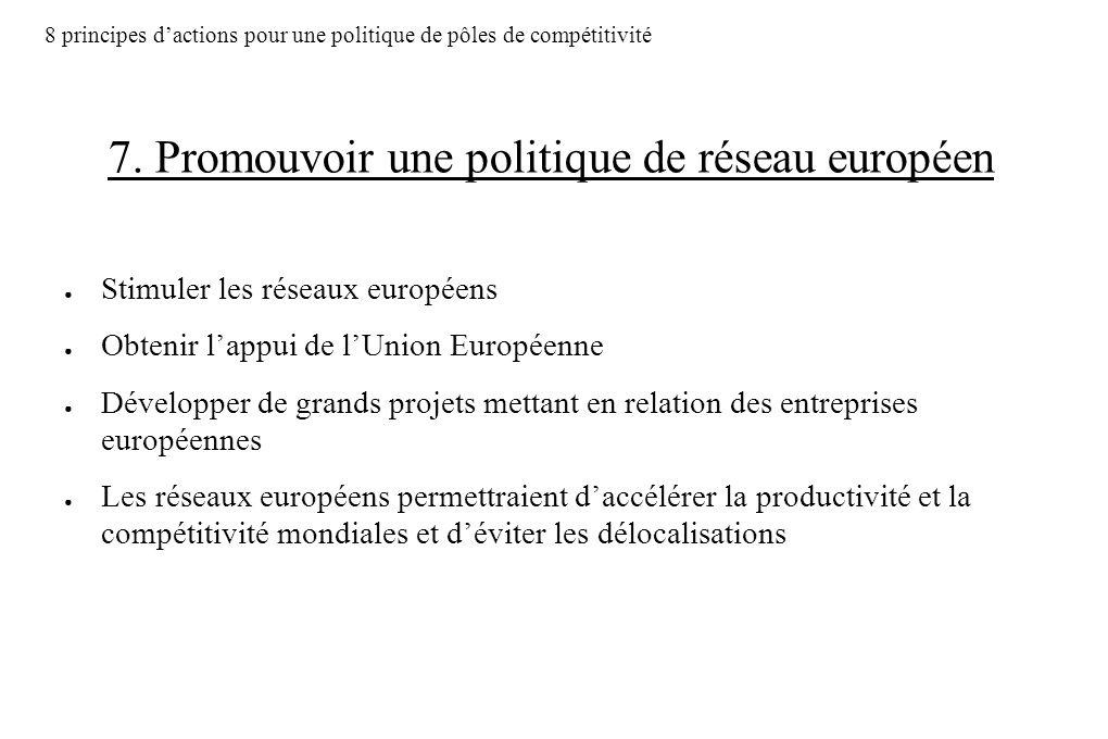 7. Promouvoir une politique de réseau européen