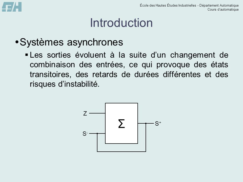 Introduction Σ Systèmes asynchrones