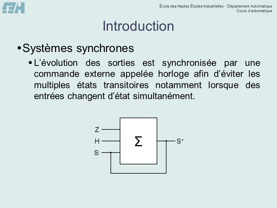 Introduction Σ Systèmes synchrones