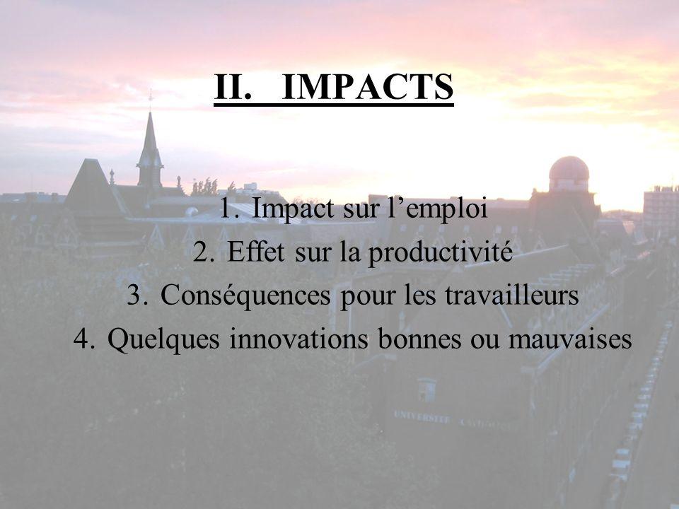 II. IMPACTS Impact sur l'emploi Effet sur la productivité