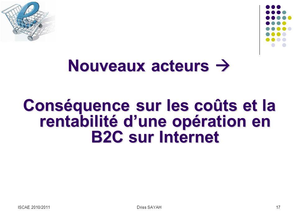 Nouveaux acteurs  Conséquence sur les coûts et la rentabilité d'une opération en B2C sur Internet.