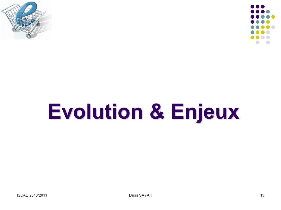 Evolution & Enjeux ISCAE 2010/2011 Driss SAYAH