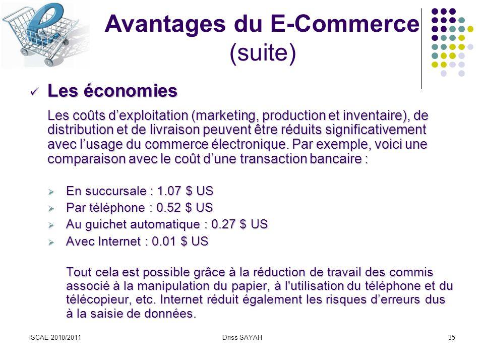 Avantages du E-Commerce (suite)