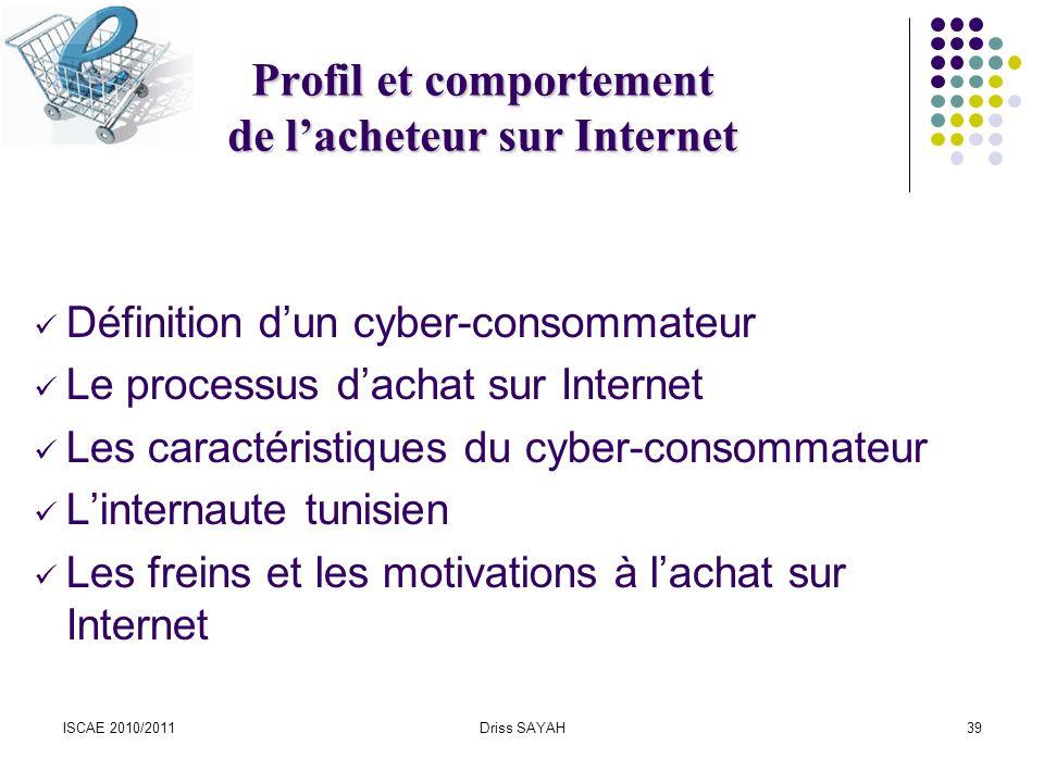 Profil et comportement de l'acheteur sur Internet