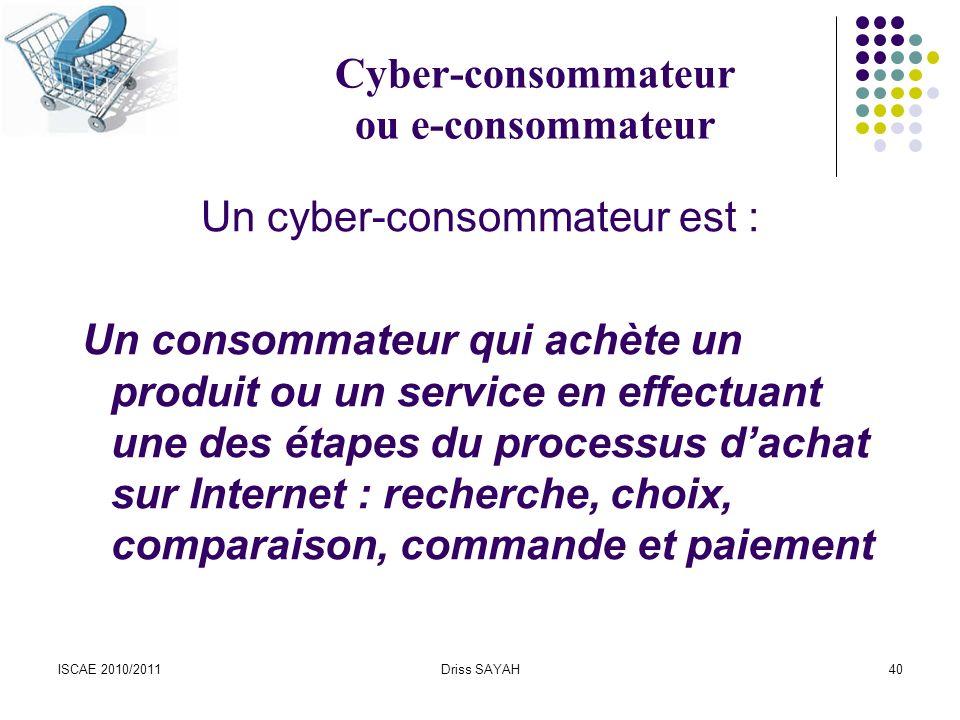 Cyber-consommateur ou e-consommateur