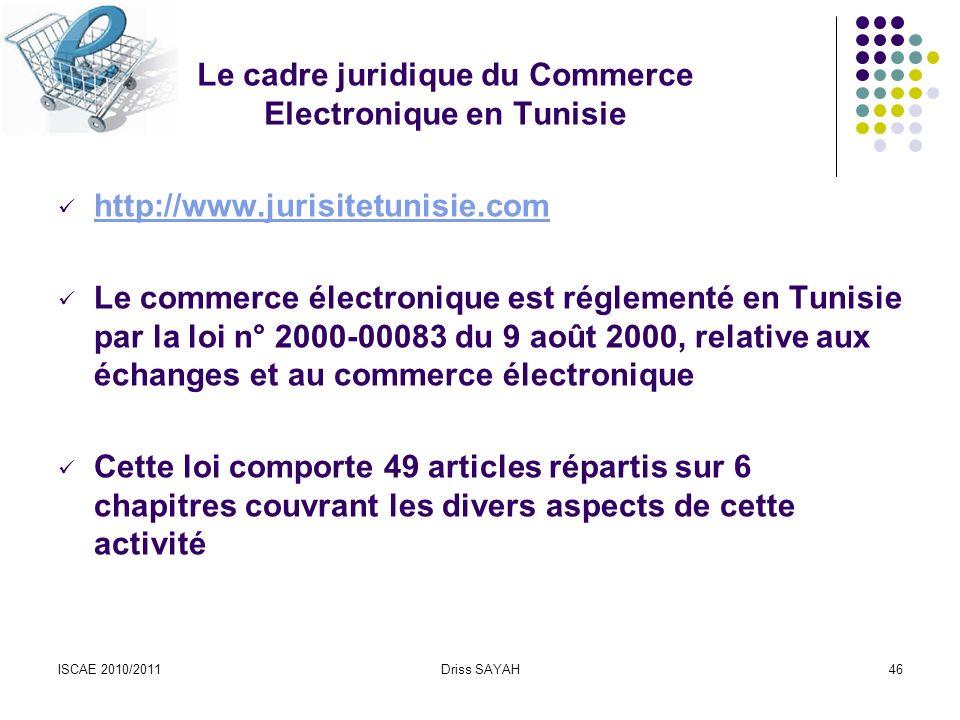 Le cadre juridique du Commerce Electronique en Tunisie