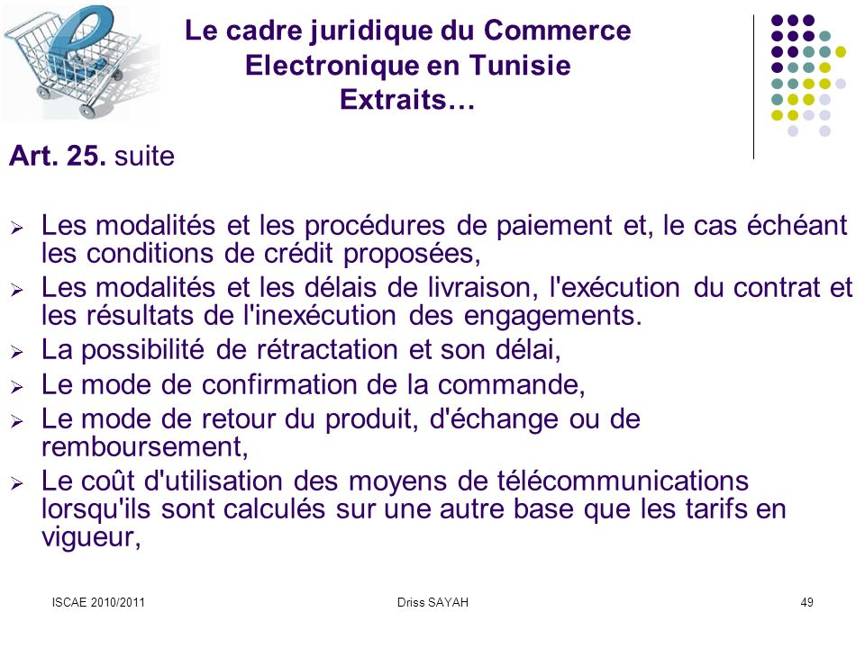 Le cadre juridique du Commerce Electronique en Tunisie Extraits…