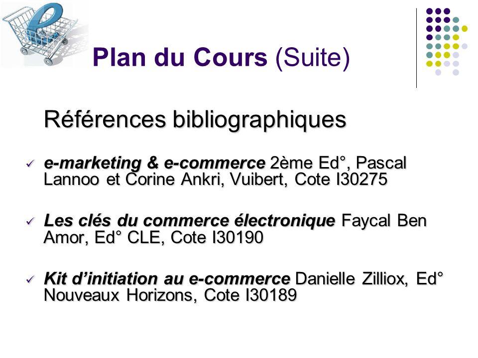 Plan du Cours (Suite) Références bibliographiques