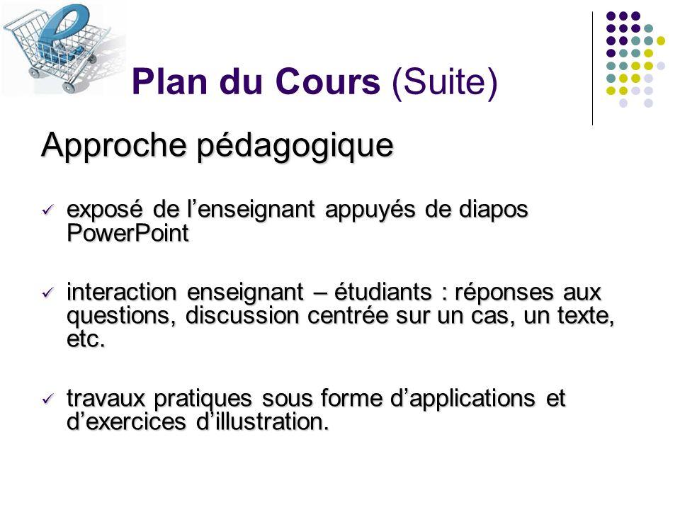 Plan du Cours (Suite) Approche pédagogique