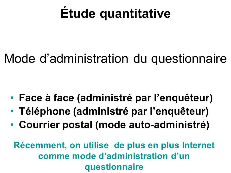 Mode d'administration du questionnaire