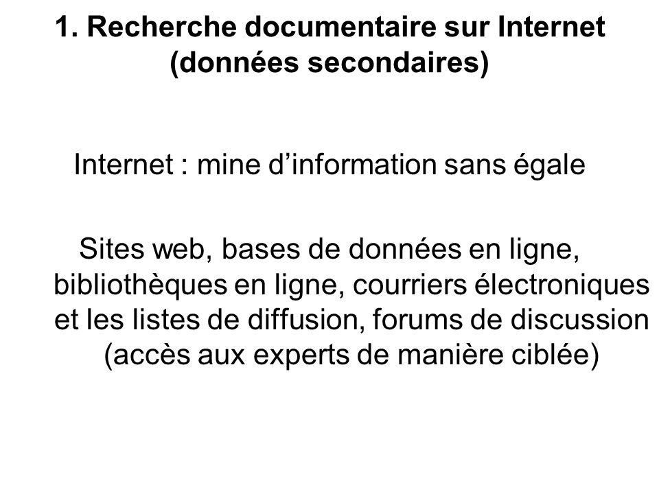 1. Recherche documentaire sur Internet (données secondaires)