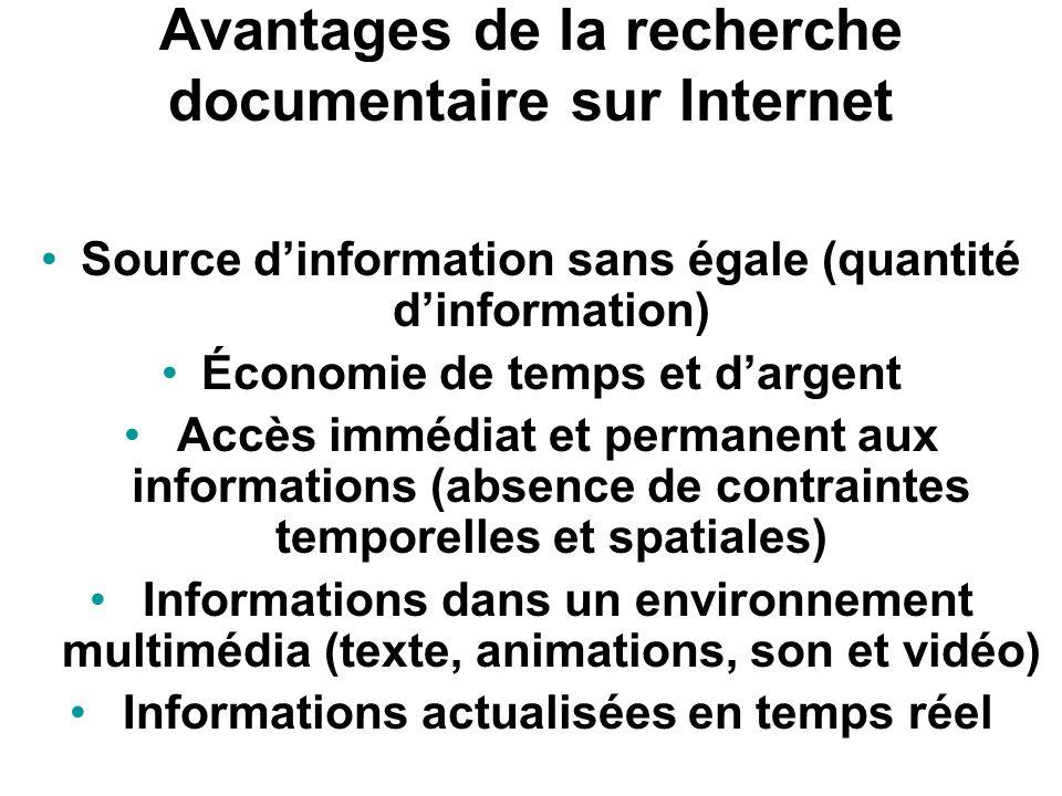Avantages de la recherche documentaire sur Internet