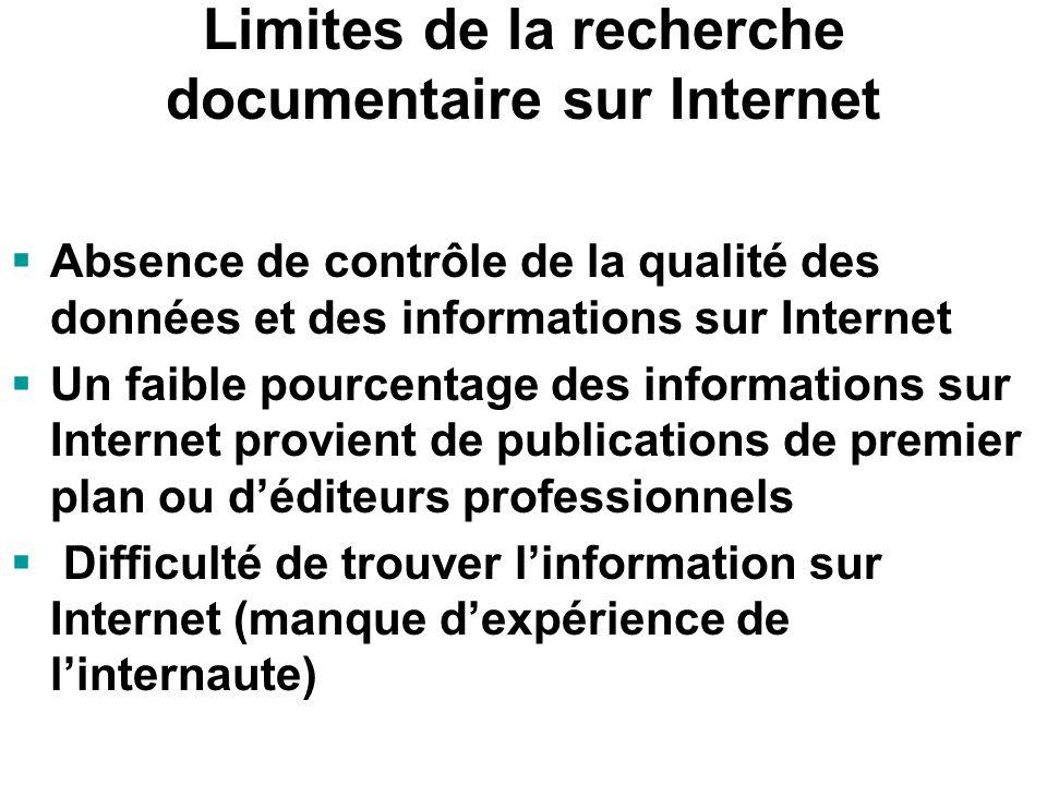 Limites de la recherche documentaire sur Internet