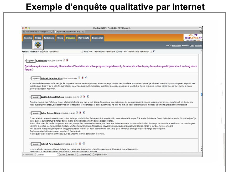 Exemple d'enquête qualitative par Internet
