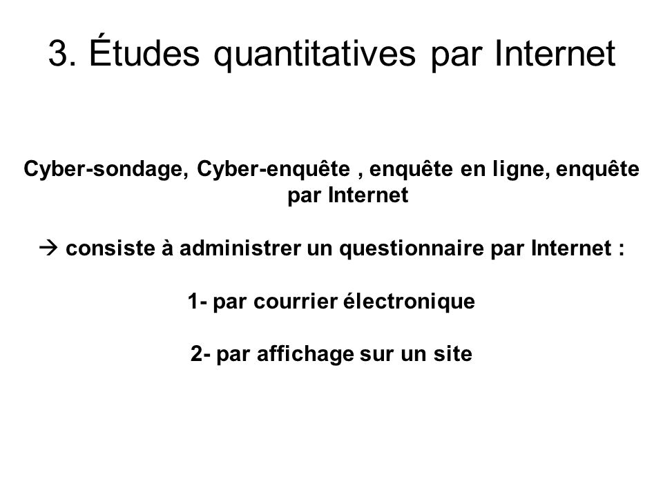 3. Études quantitatives par Internet