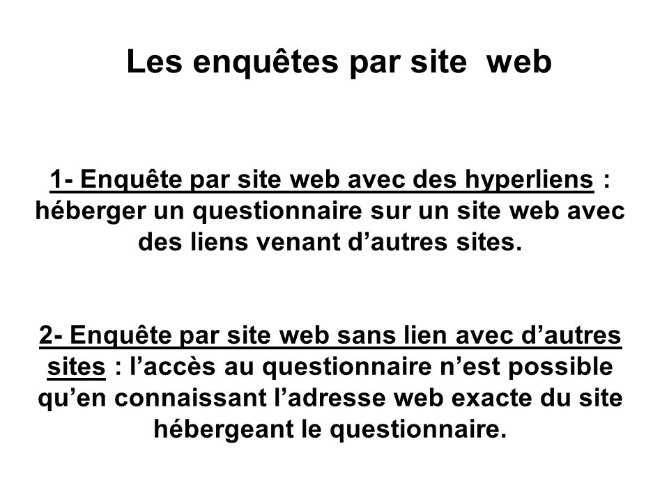 Les enquêtes par site web