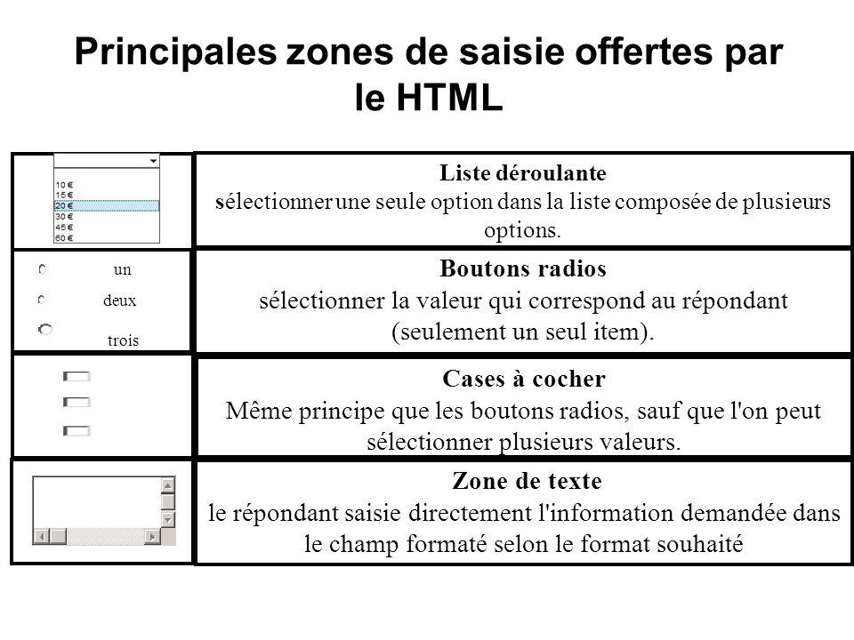 Principales zones de saisie offertes par le HTML
