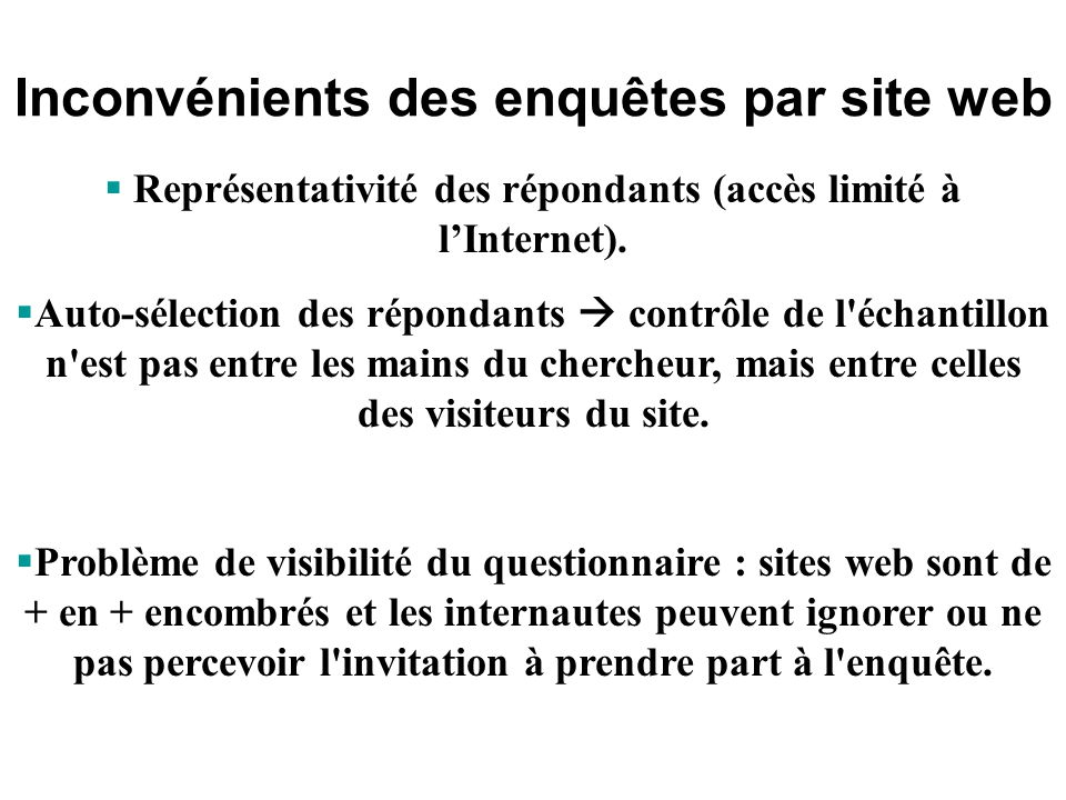Inconvénients des enquêtes par site web