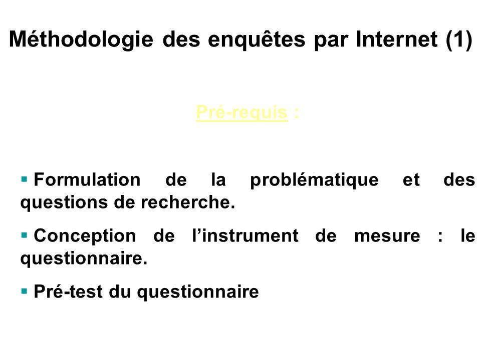 Méthodologie des enquêtes par Internet (1)