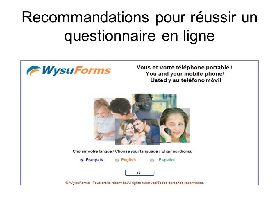 Recommandations pour réussir un questionnaire en ligne