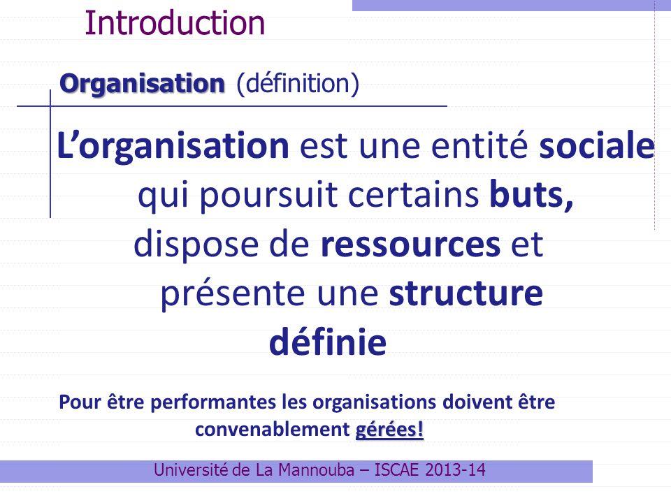 L'organisation est une entité sociale qui poursuit certains buts,