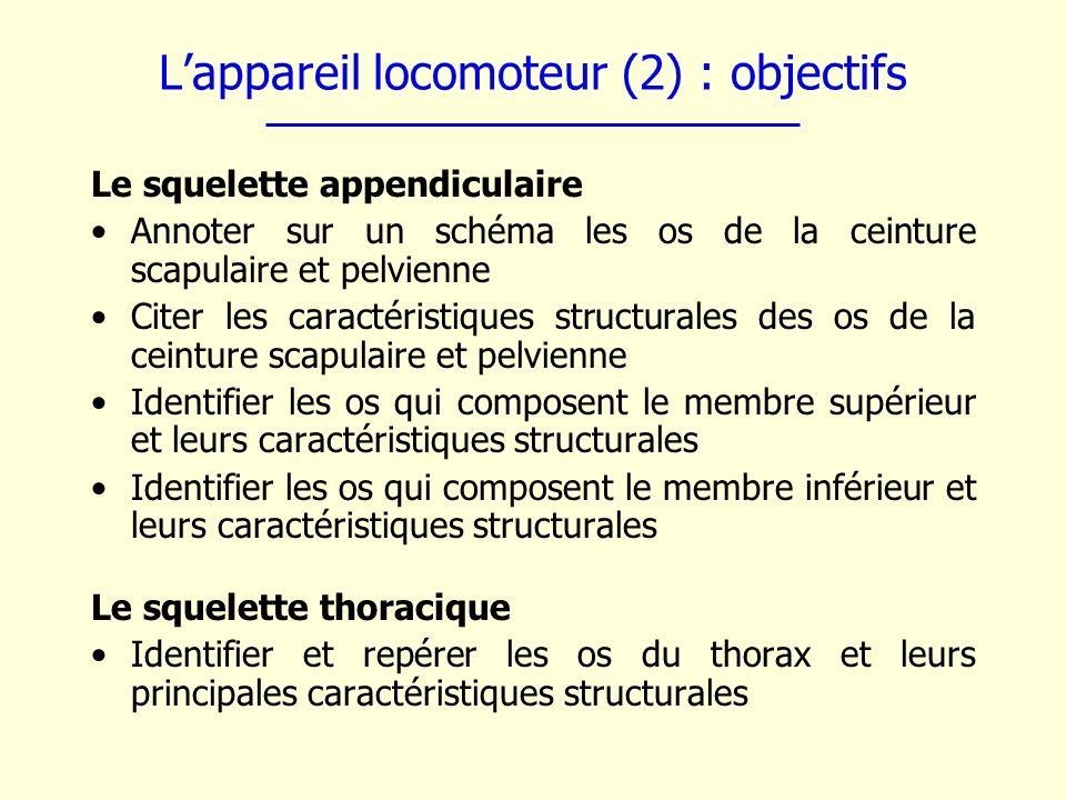 L'appareil locomoteur (2) : objectifs