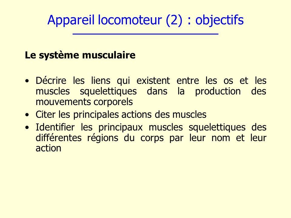 Appareil locomoteur (2) : objectifs
