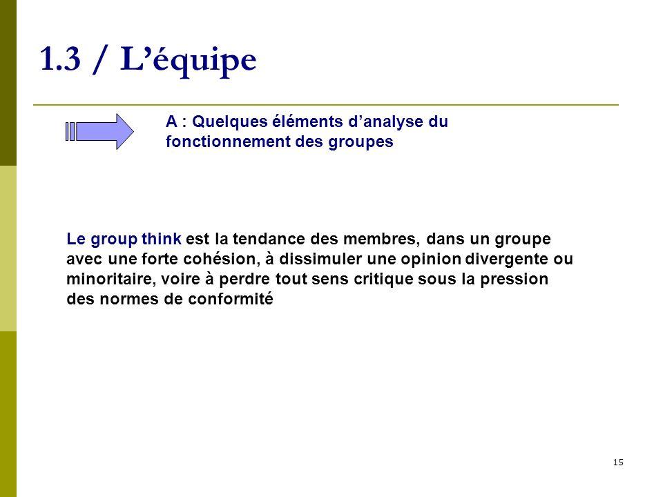 1.3 / L'équipe A : Quelques éléments d'analyse du fonctionnement des groupes.