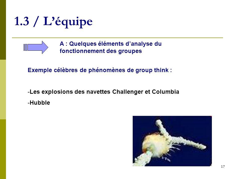 1.3 / L'équipe A : Quelques éléments d'analyse du fonctionnement des groupes. Exemple célèbres de phénomènes de group think :