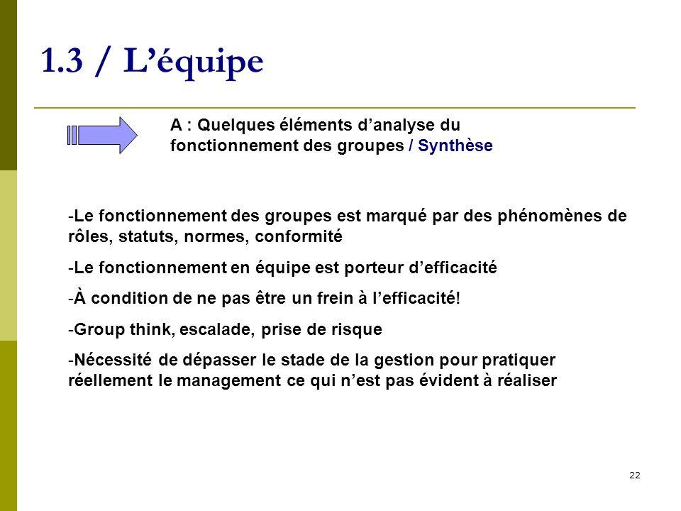 1.3 / L'équipe A : Quelques éléments d'analyse du fonctionnement des groupes / Synthèse.