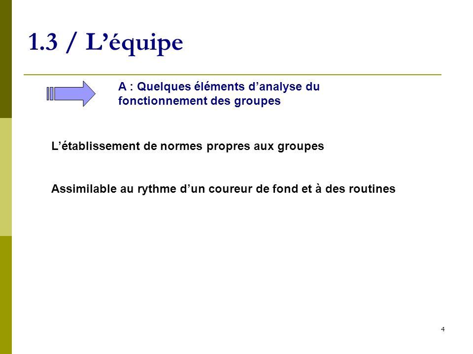 1.3 / L'équipe A : Quelques éléments d'analyse du fonctionnement des groupes. L'établissement de normes propres aux groupes.