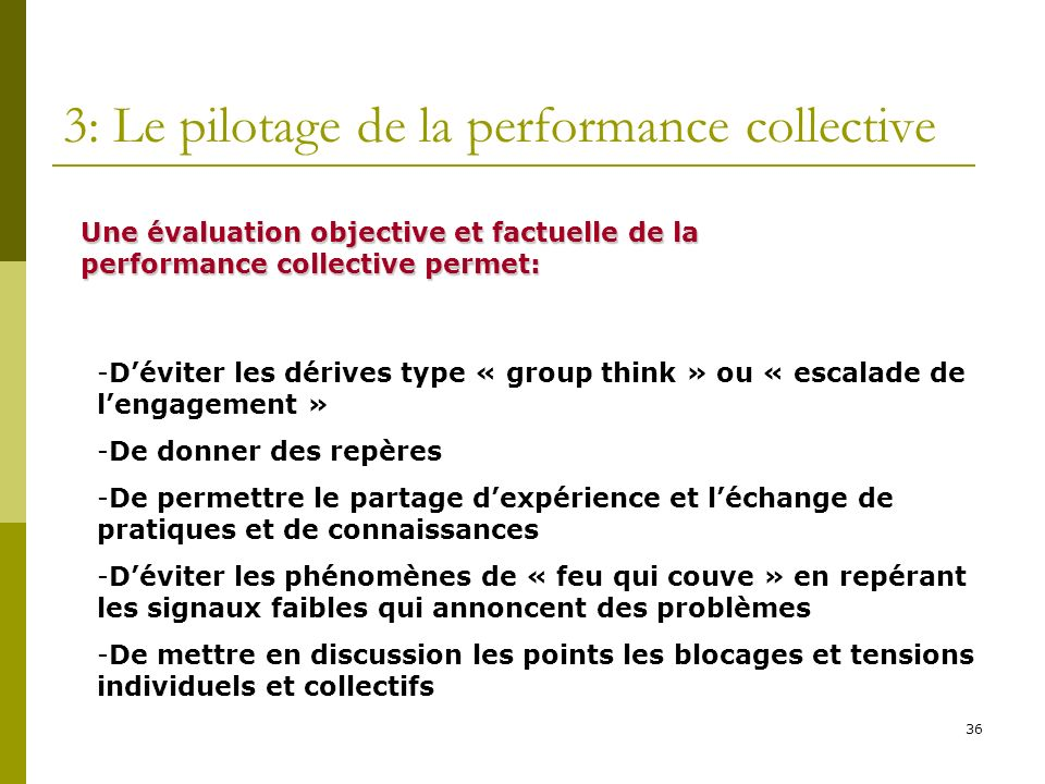 3: Le pilotage de la performance collective
