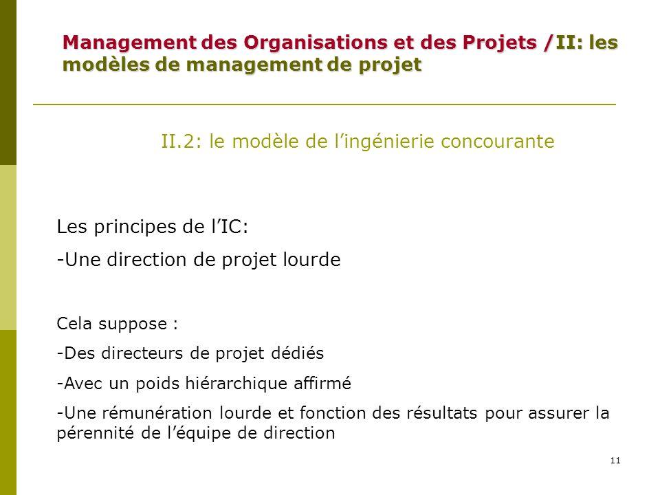 II.2: le modèle de l'ingénierie concourante