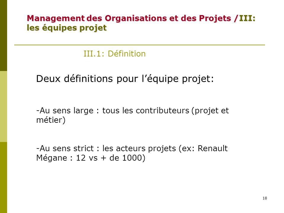 Deux définitions pour l'équipe projet: