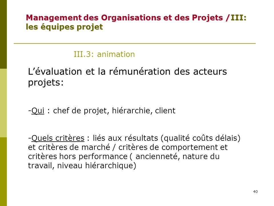 L'évaluation et la rémunération des acteurs projets: